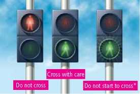Световые сигналы для пешеходов на переходах паффин и пеликан.