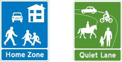 Знак жилой зоны и тихого переулка