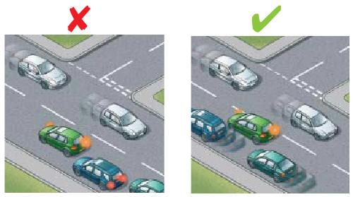 Занимайте правильную позицию на дороге чтобы не создавать помех