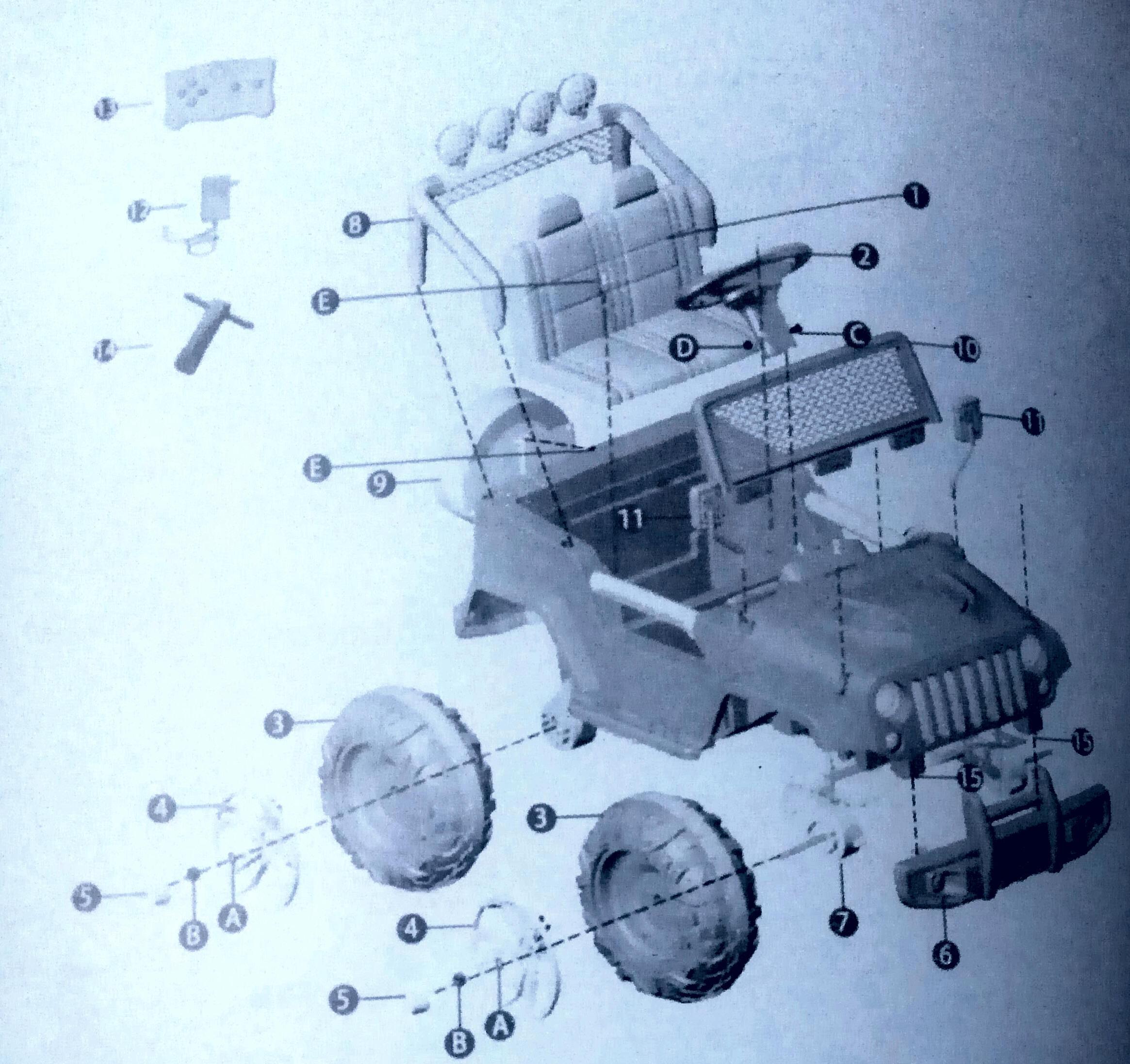 Схема сборки детского электромобиля Джип Harleybella S2388